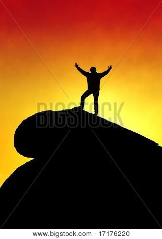 Man on Top of the Mountain with Arms Raised Silhouette , Inspiration and Success Concept
