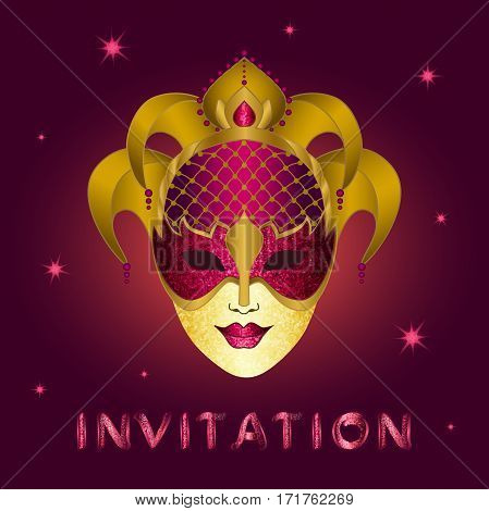 Invitation card with purple glittery calligraphic inscription.  Concept design glittery gold and purple mask with shining stars on a square purple background - vector illustration.