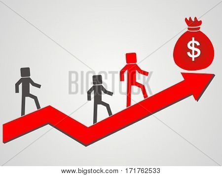 businessman succeeds. to the top of the money
