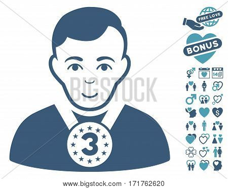 3rd Prizer Sportsman icon with bonus valentine pictograms. Vector illustration style is flat iconic cyan and blue symbols on white background.