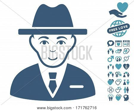 Agent icon with bonus amour icon set. Vector illustration style is flat iconic cyan and blue symbols on white background.