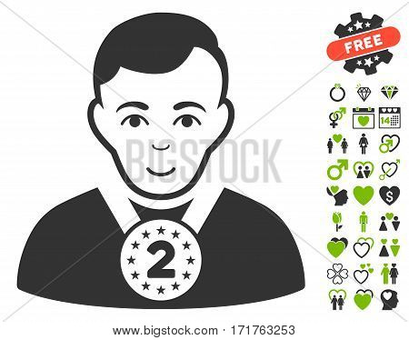 2nd Prizer Sportsman pictograph with bonus decoration images. Vector illustration style is flat iconic eco green and gray symbols on white background.