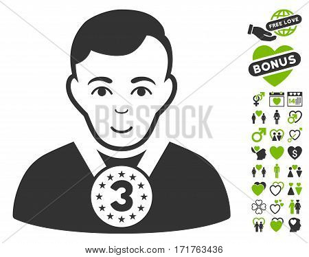 3rd Prizer Sportsman icon with bonus valentine pictograph collection. Vector illustration style is flat iconic eco green and gray symbols on white background.