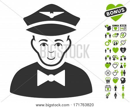 Airline Steward icon with bonus love symbols. Vector illustration style is flat iconic eco green and gray symbols on white background.
