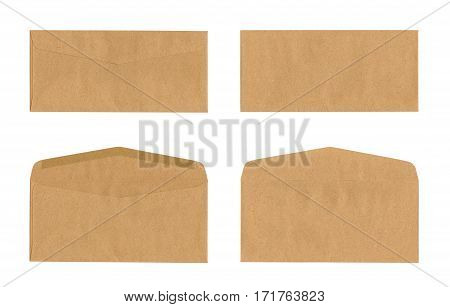 Set of brown envelope isolated on white with clipping path
