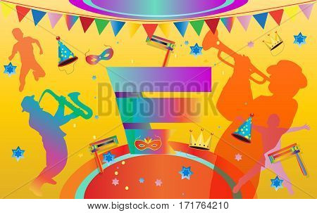 Happy Carnival, Festival, Masquerade Music poster, invitation Holiday Kids party poster design. Vector illustration. Children Event funny flyer, placard, tickets, banners, template design with confetti, carnival mask, crown, garland, fireworks, musicians