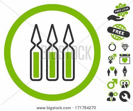 Ampoules pictograph with bonus romantic icon set. Vector illustration style is flat iconic eco green and gray symbols on white background.