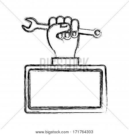 blurred silhouette plaque with hand holding wrench vector illustration