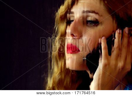 Woman crying by phone. Girl talking on phone . Portrait of sad female behind window with rain. Sad woman's face behind glass with drops. Drops on glass symbolize depression. Black background.