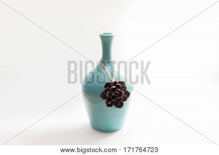 on a white background, background, white, vase, turquoise, small vase, a bump