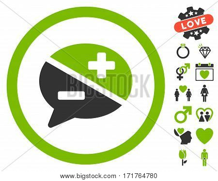 Arguments pictograph with bonus amour pictures. Vector illustration style is flat iconic eco green and gray symbols on white background.