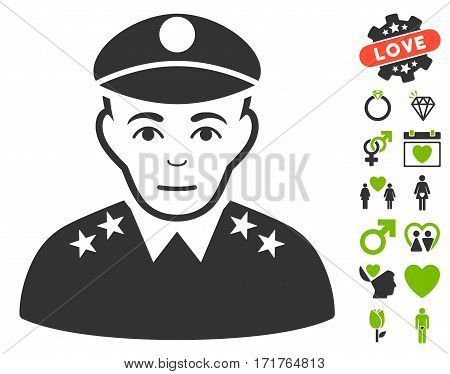 Army General pictograph with bonus dating clip art. Vector illustration style is flat iconic eco green and gray symbols on white background.