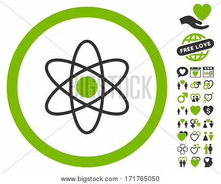 Atom pictograph with bonus marriage pictures. Vector illustration style is flat iconic eco green and gray symbols on white background.