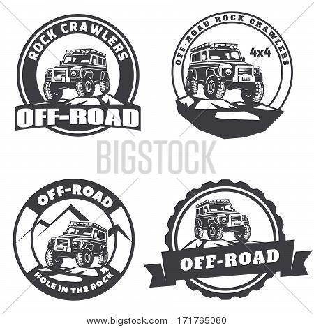 Set of off-road suv car round logo emblems and badges.