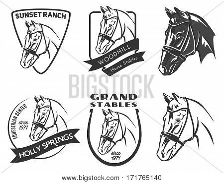 Set of horse eqestrian center logo badges and emblems isolated on white background. Horse stables or horse ranch design elements.