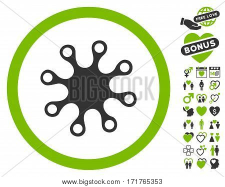 Axenic pictograph with bonus decorative pictograph collection. Vector illustration style is flat iconic eco green and gray symbols on white background.