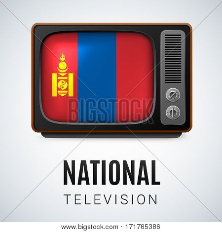 Vintage TV and Flag of Mongolia as Symbol National Television. Tele Receiver with Mongolian flag