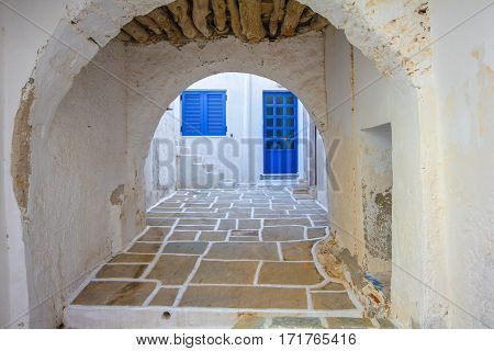 Porch under a Greek house on the island of Santorini.