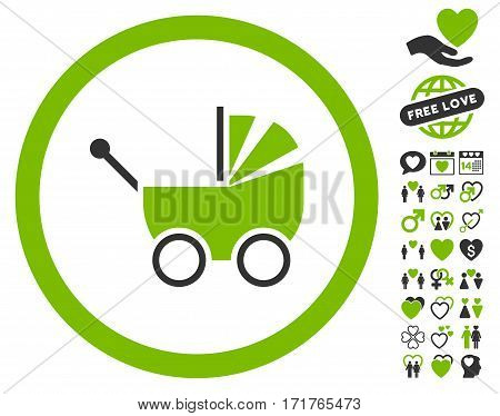 Baby Carriage icon with bonus valentine icon set. Vector illustration style is flat iconic eco green and gray symbols on white background.