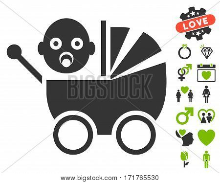 Baby Carriage icon with bonus decorative images. Vector illustration style is flat iconic eco green and gray symbols on white background.