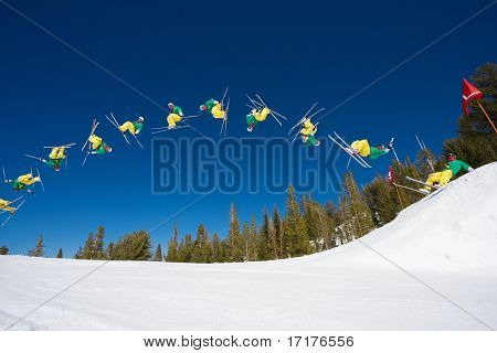 Sequence of Skier Doing a Radical Double Back flip
