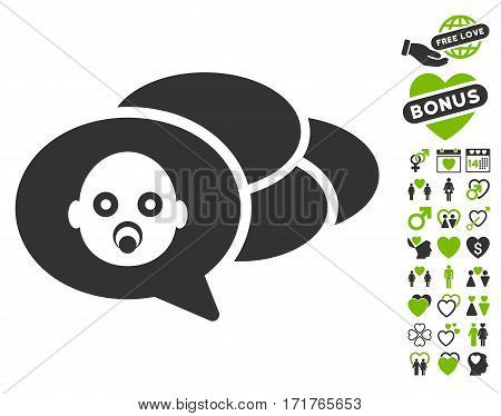 Baby Dreams pictograph with bonus amour pictograms. Vector illustration style is flat iconic eco green and gray symbols on white background.