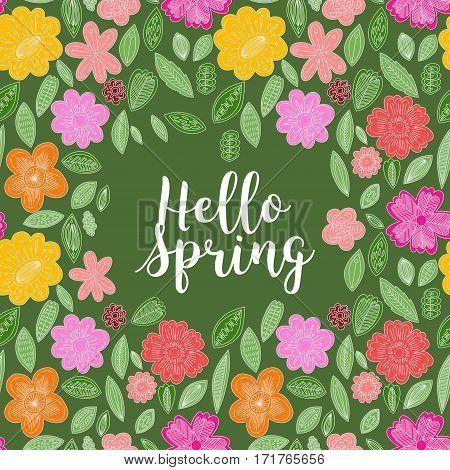 Green Texture With Leaves And Flowers. Card With Text Hello Spring. Vector Design For Spring Sales,