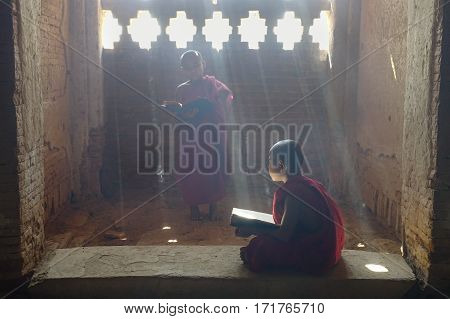 Portrait Of Buddhist Monk In Bagan, Myanmar