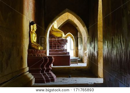 Buddha Statues In The Ancient Temple