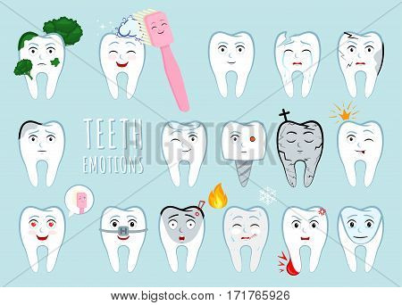 Teeth emotion set. Many various teeth expression. Big dental collection for your design. Illustrations for children dentistry.