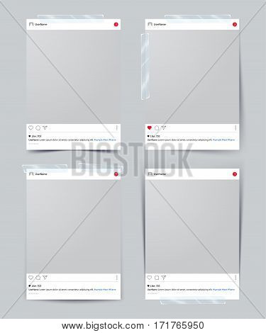 Set of vector template photo frame with adhesive tape Isolated on gray background. design for your photography and picture. Vector Illustration