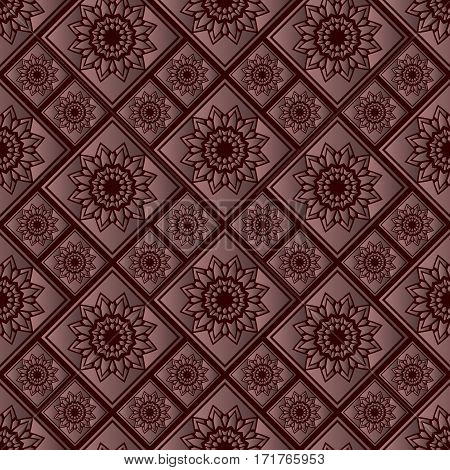 Crimson seamless pattern with rose gold tiles. Premium background. Textile fabric print.