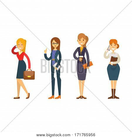 Business people woman vector illustration. Collection of full length portraits of professional portrait community characters. Success occupation person.