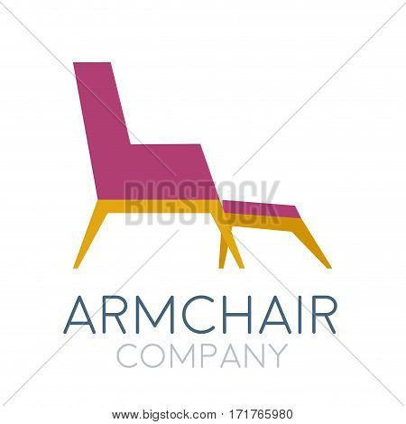 Vector sign abstract vintage armchair, isolated illustration