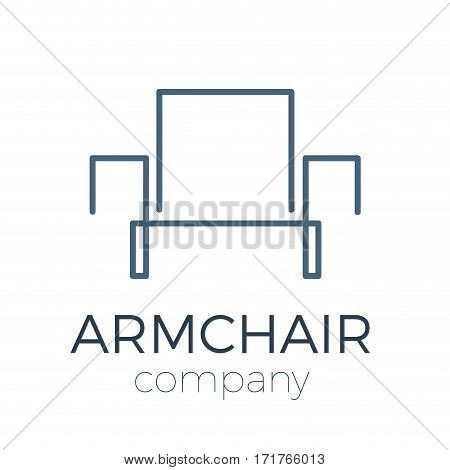 Vector sign abstract modern armchair, isolated illustration