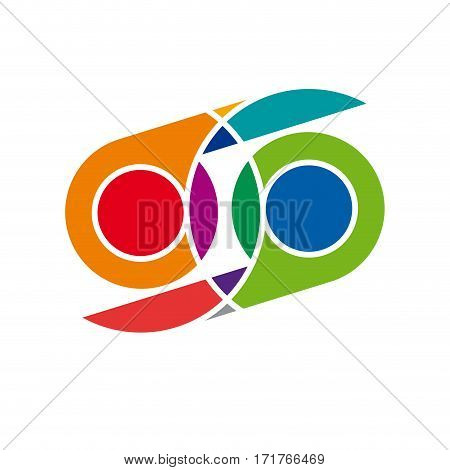 Vector sign infinity. Abstract surrealist vision, isolated illustration