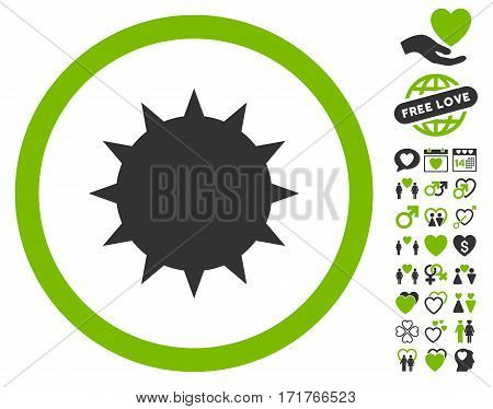 Bacterium icon with bonus romantic graphic icons. Vector illustration style is flat iconic eco green and gray symbols on white background.