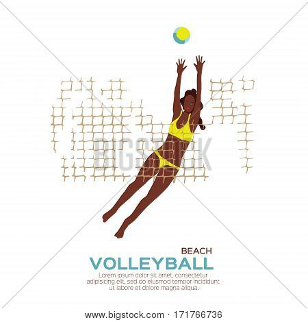 Beach Volleyball is popular sport game. Funny young woman with ball and net. Championship Volleyball net. Vector Illustration