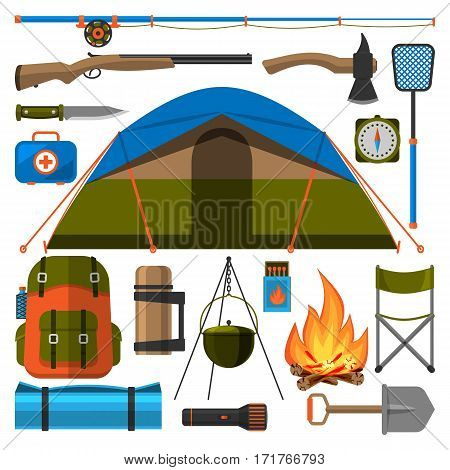 Summer outdoor travel camping icons tourism hiking recreation campfire and nature vacation forest adventure backpack equipment vector illustration. Vacation leisure fishing and picnic tent.