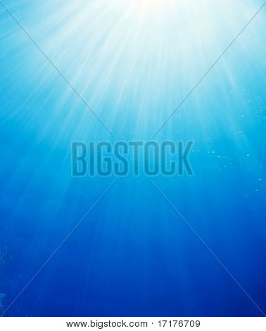 Underwater World, Sun Rays Filtering Down Through Ocean