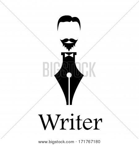 Vector sign writer. Fountain pen head of a bearded man