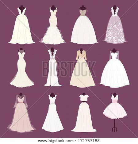 Wedding bride dress different design celebration vector illustration. Fashion bride design made in modern accessories silhouette. Holiday vector bridal shower composition.