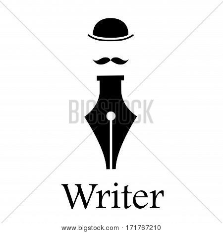 Vector sign writer. Fountain pen man with hat and mustache