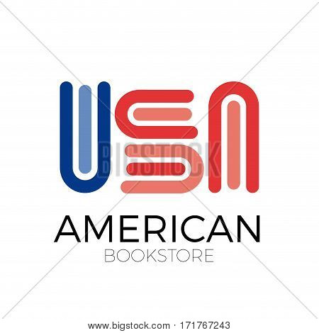 Vector sign abstract american bookstore, isolated illustration