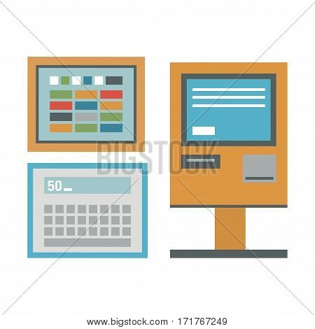 ATM pos-terminal and hand credit card icons. Payment transfer mobile service automatic terminal. Money credit currency cash sign banking dollar machine.