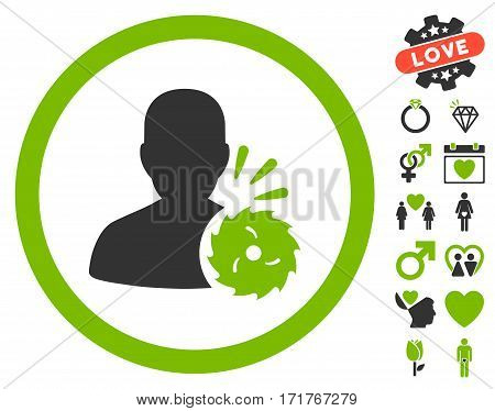 Body Execution icon with bonus love pictograph collection. Vector illustration style is flat iconic eco green and gray symbols on white background.