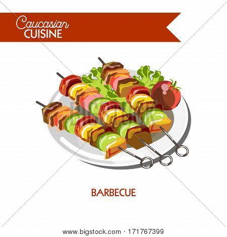Shashlik barbecue of Caucasian cuisine or kitchen. Vector icon sign for Georgian, Armenian or Azerbaijani restaurant cafe menu. Traditional grilled meat