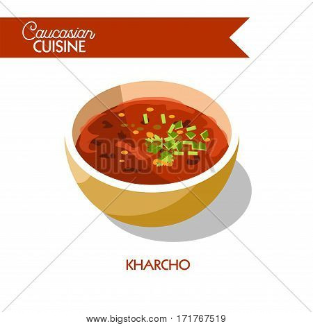 Kharcho soup of Caucasian Georgian cuisine or kitchen. Vector icon sign for Georgia restaurant cafe menu. Traditional spicy boullion with meat and vegetables