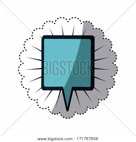 blue sticker square shape dialog box with lines around vector illustration
