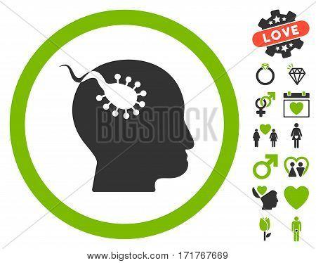 Brain Parasite icon with bonus decoration icon set. Vector illustration style is flat iconic eco green and gray symbols on white background.